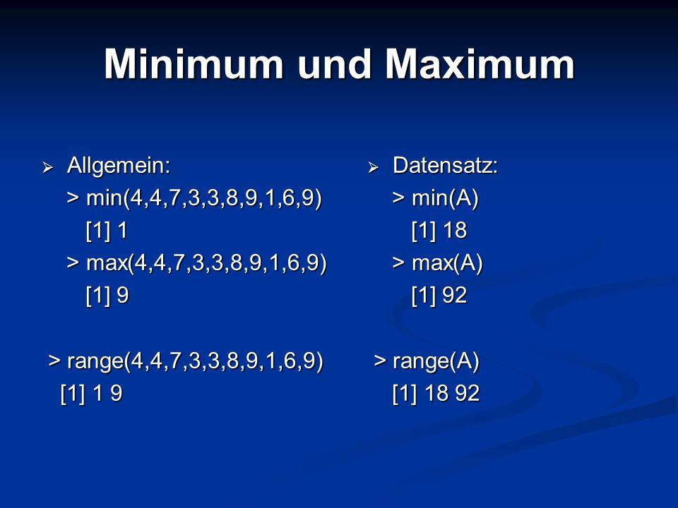 Minimum und Maximum Allgemein: > min(4,4,7,3,3,8,9,1,6,9) [1] 1